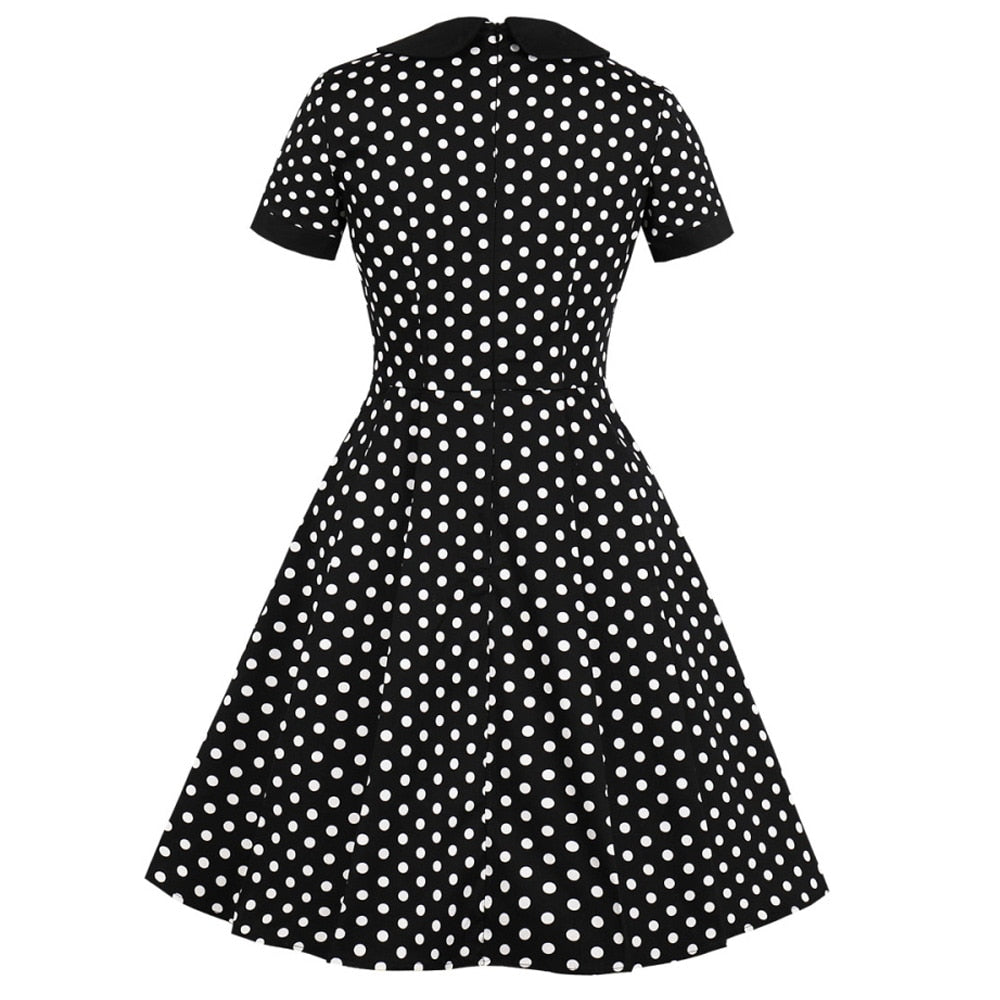 Wipalo Women'S Dot Print Laple Vintage Pinup Swing Dress Peter Pan Collar Evening Party Rockabilly Pocket Retro Dress Vestidos