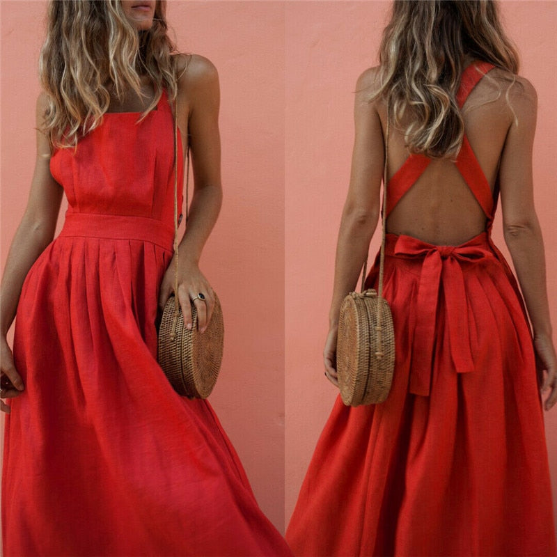 Women Summer Boho Strappy Long Maxi Dress Sexy Backless Party Red Dress Beachwear  Sundress vestido mujer