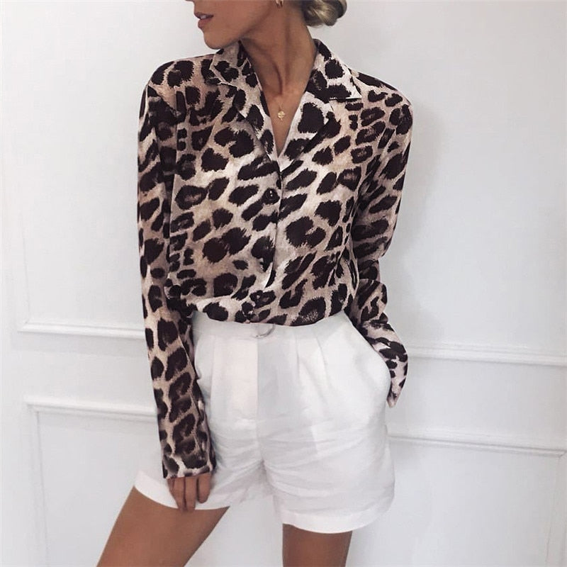 Vintage Blouse Long Sleeve Sexy Leopard Print Turn-Down Collar Shirt
