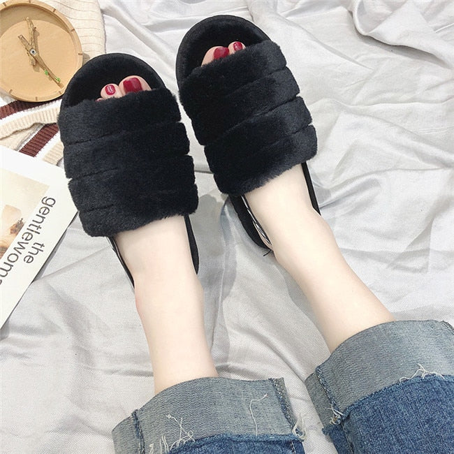 Women Home Slippers Winter Warm Faux Fur Shoes With Backband