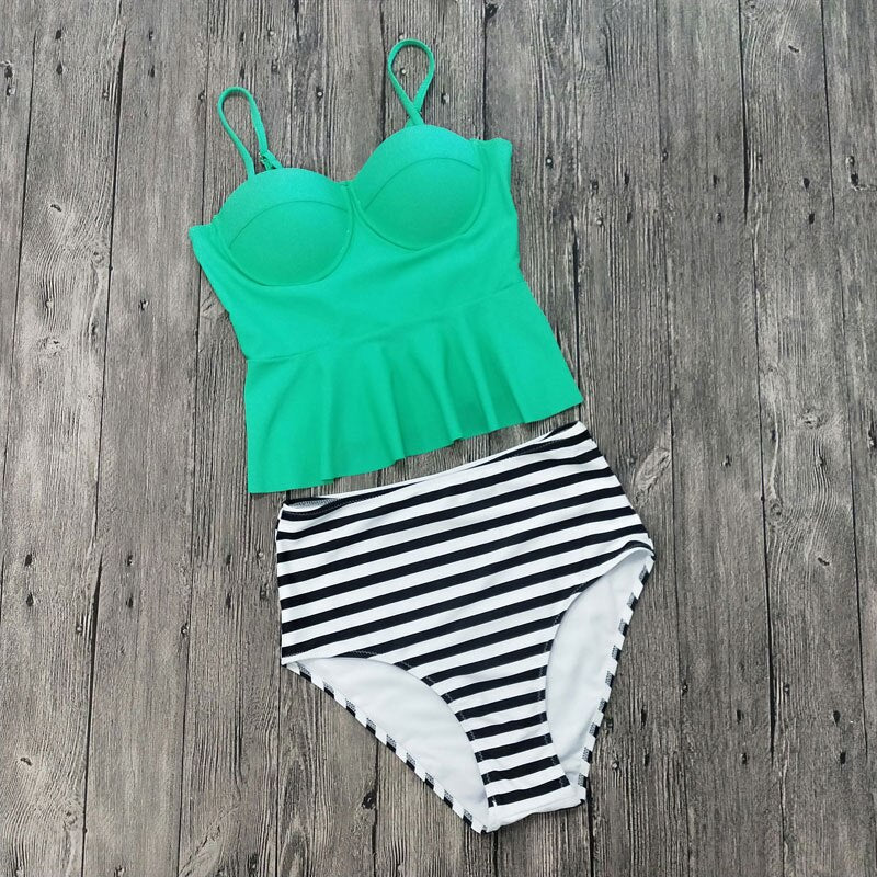 Push Up Swimsuit Two-Piece Print Set