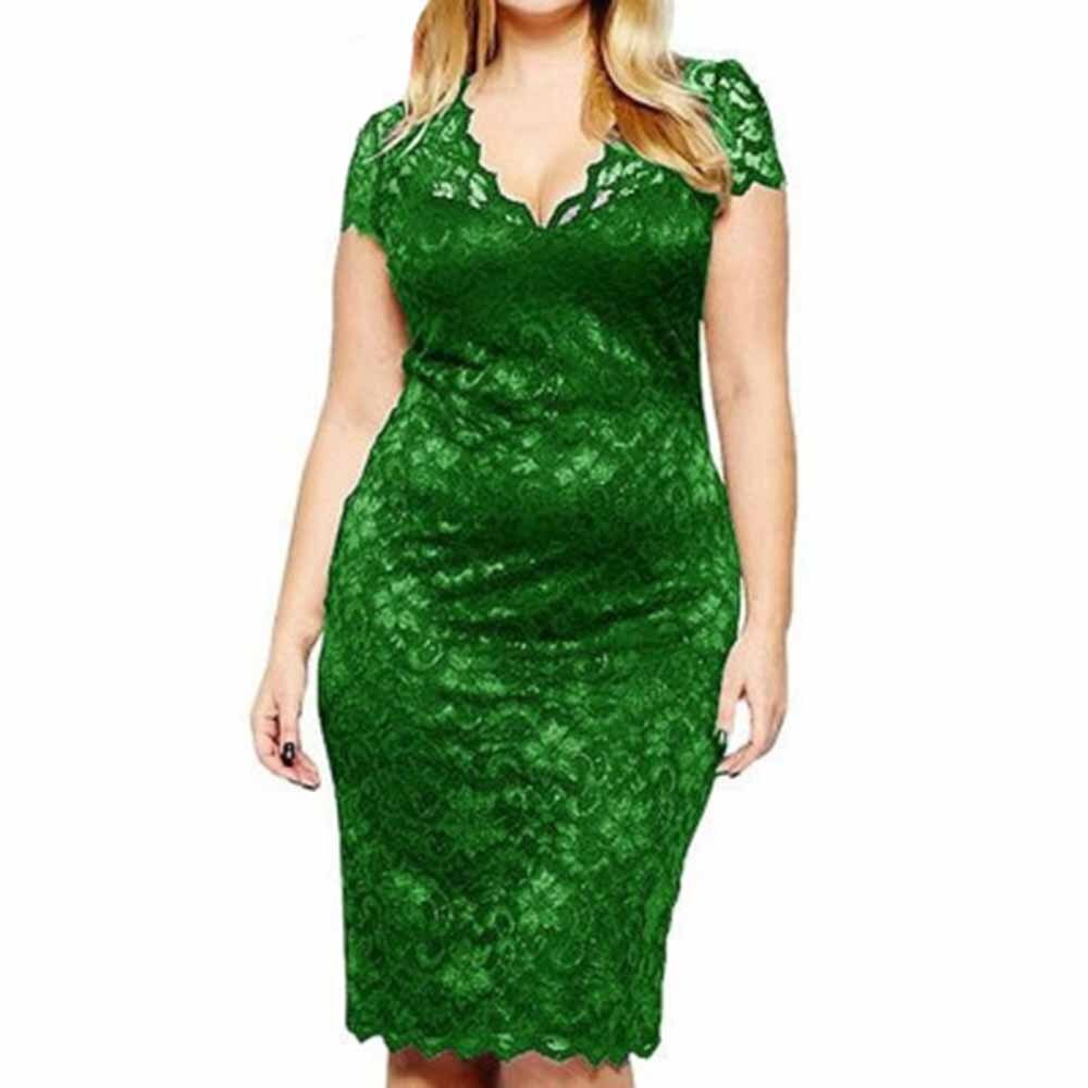 Plus Size Women V Neck Elegant Lace Dress