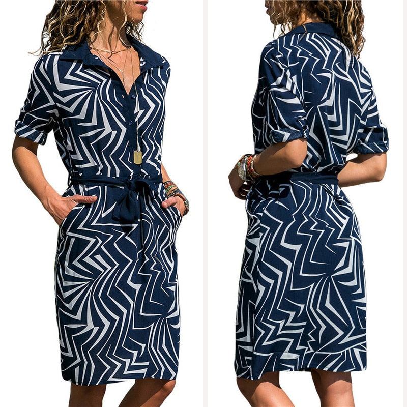 New Autumn Summer Dress Women Striped Print Lace Up Beach Dress Party Dress With Button Knee Length Vestidos Verano Plus Size