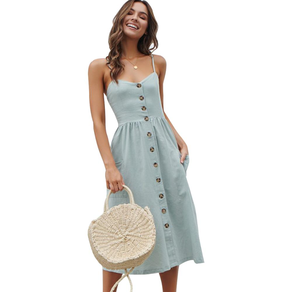 Casual Female Sundress Women Summer Dress 2020 Sexy Midi Dress Ladies Vintage Vestidos Backless Straps Plus Size Dresses Button