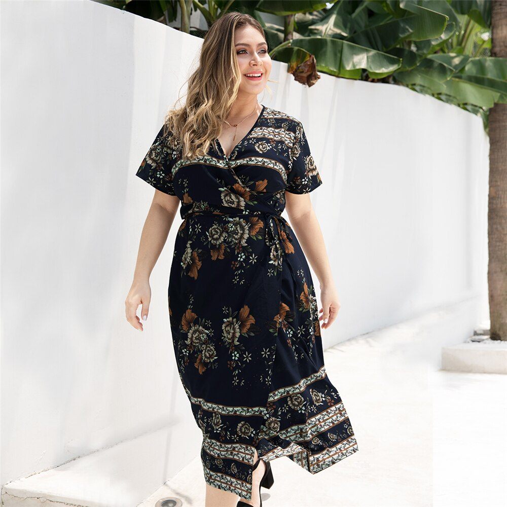 Wipalo Women Plus Size Floral Deep V Neck Side Slit Summer Dress Short Sleeves Mid Calf Casual Dress Ladies Boho Beach Vestidos