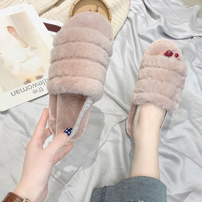 COOTELILI Women Home Slippers Winter Warm Shoes Woman Slip on Flats Slides Female Faux Fur Slippers Women Shoes 36-41 wholesale