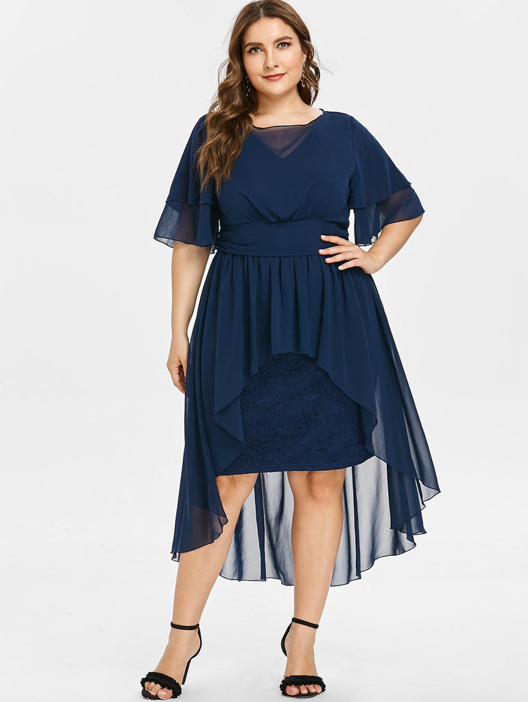 Wipalo Plus Size Elegant Party Dress High Waist Lace Panel High Low Dress Women Half Sleeves O Neck Mid-Calf Dress Vestidos 5XL