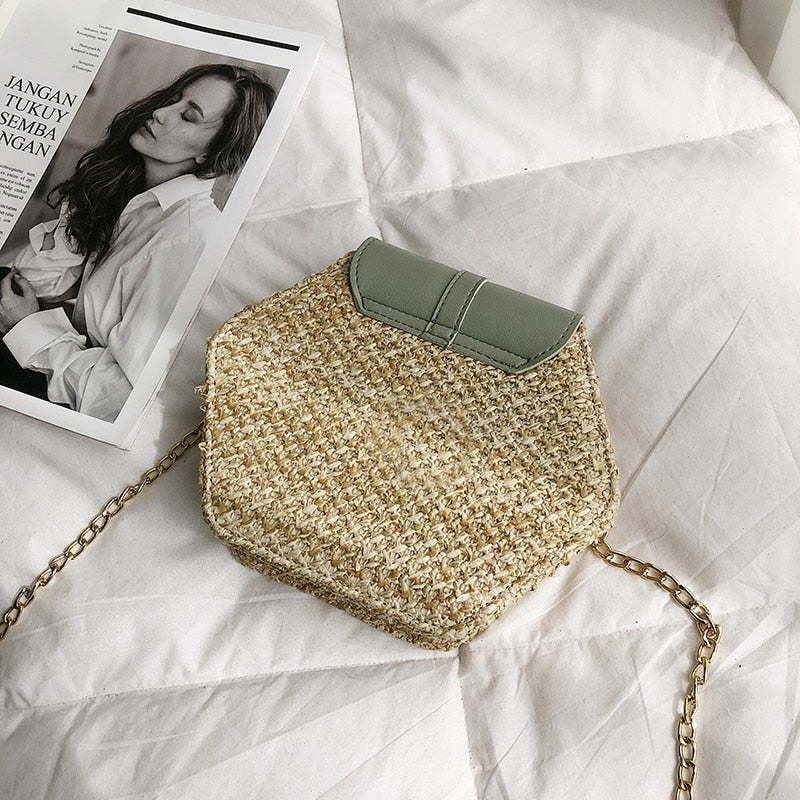 Hexagon Mulit Style Straw+leather Handbag Women Summer Rattan Bag Handmade Woven Beach Circle Bohemia Shoulder Bag New Fashion