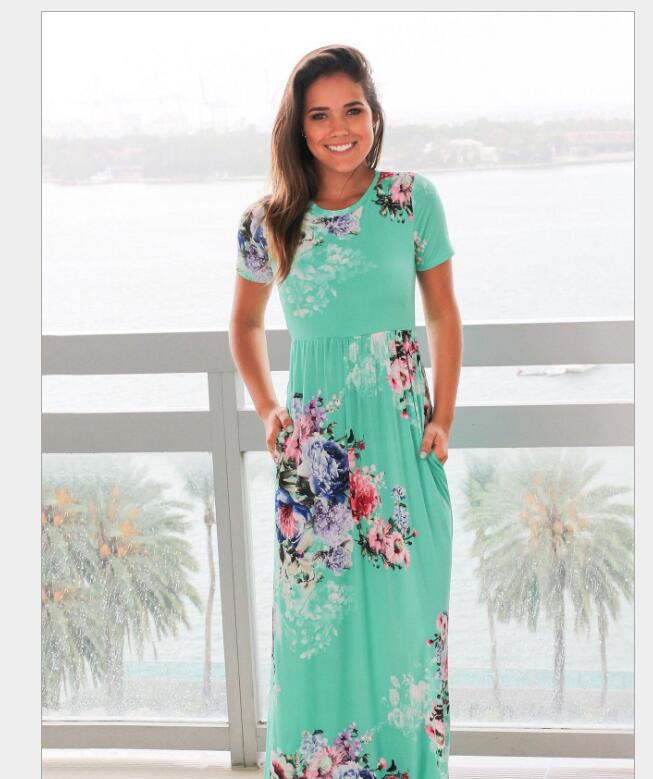 Elegant Floral Print Long Sleeve Maxi Dress