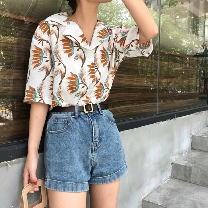 Short-Sleeve Harajuku Print Beach Sunscreen Blouse