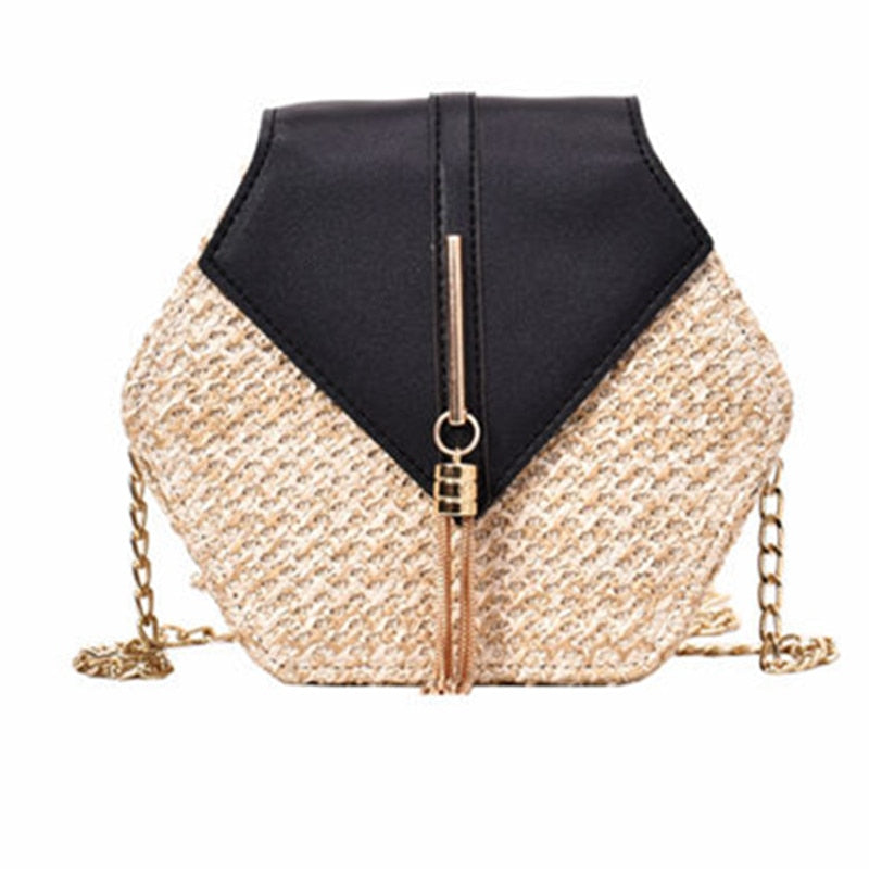 Bohemia Handmade Woven Rattan Bag Hexagon Mulit Style Straw Leather Handbag