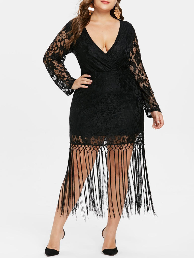Plus Size Long Sleeve Deep V Neck Lace Tassel Dress