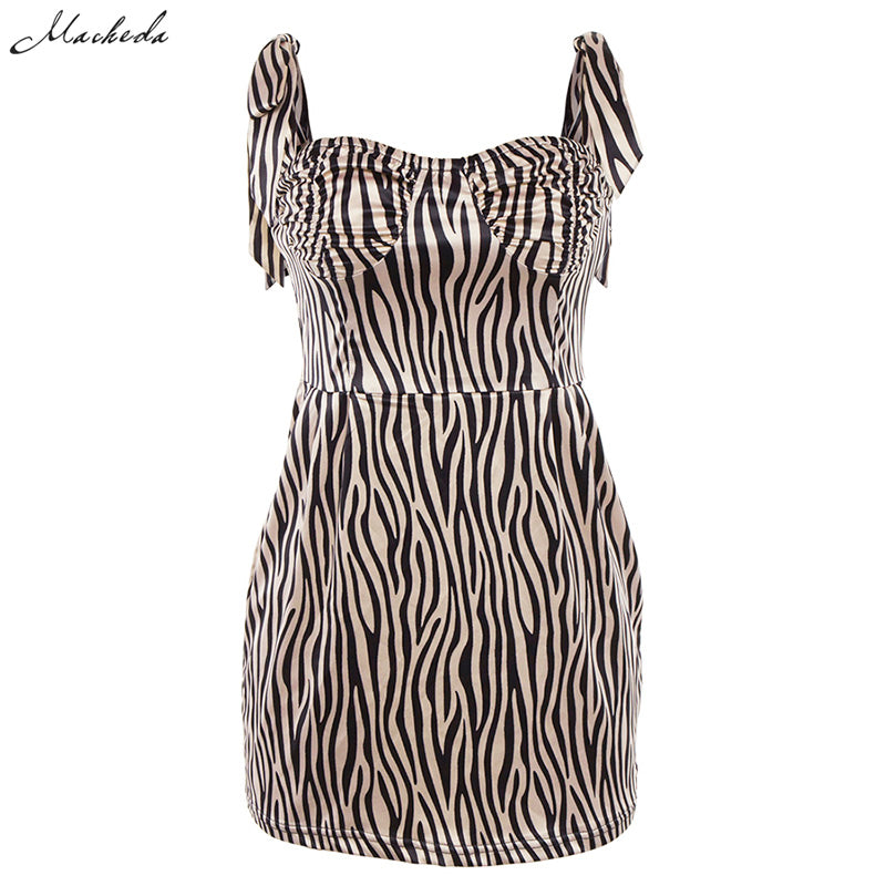 Adjustable Spaghetti Strap Zebra Print Bodycon Dress