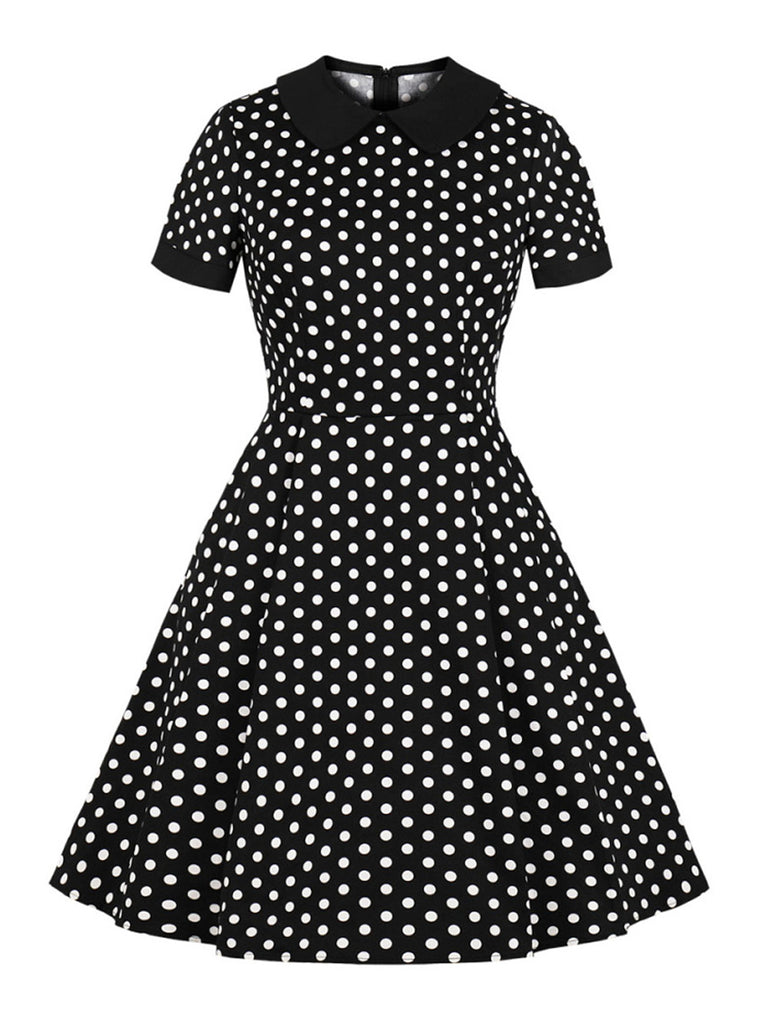 Dot Print Lapel Vintage Pin up Swing Dress