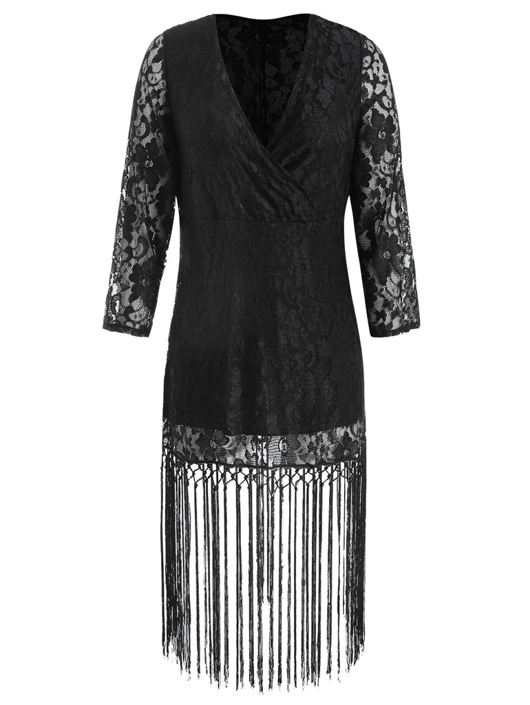Wipalo Plus Size Long Sleeve Deep V Neck Lace Tassel Dress Sexy Lace Crochet Tassel Black Party Mid-Calf Dress Vestidos 3XL