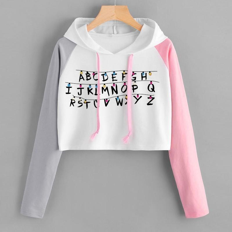Stranger Things 3 Women Elf Hoodie Color Block Fashion Hip Hop Cropped Pullover