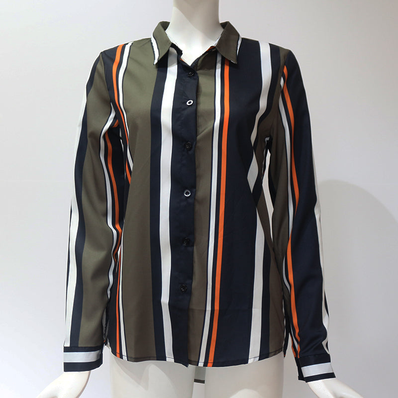 Blouses Women 2020 Leisure Long Sleeve Striped Shirt Turn Down Collar Lady Office Shirt Autumn Blouse Top Blusas Mujer Plus Size