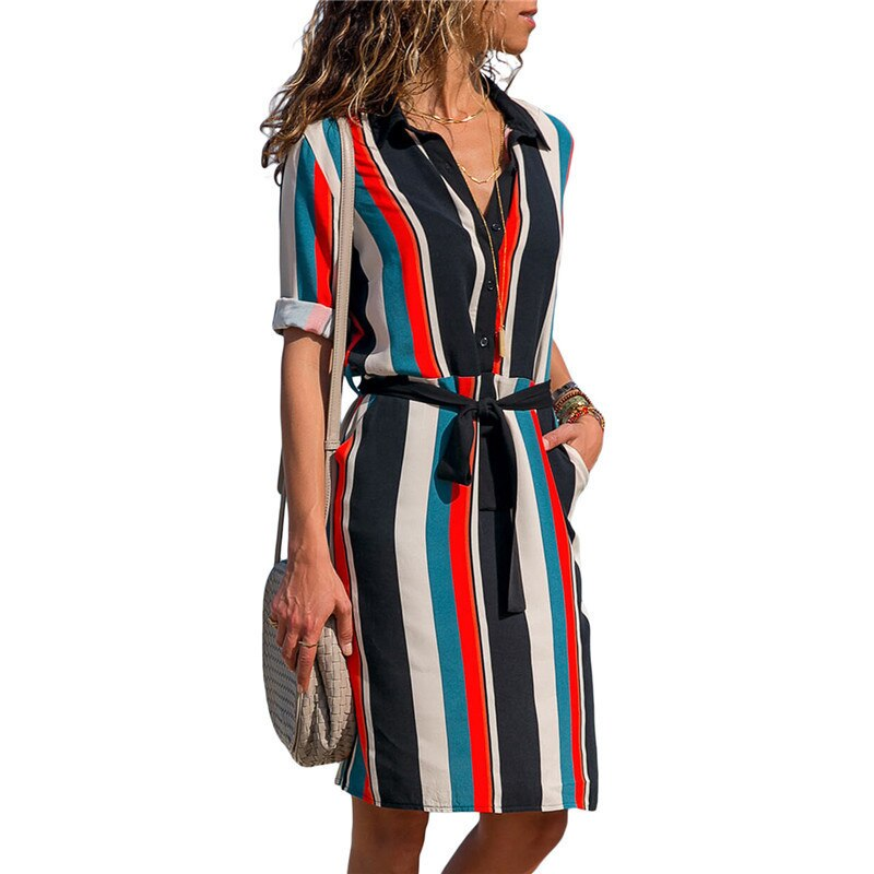 Women Colorful Print Lace Up Knee Length Dress With Button