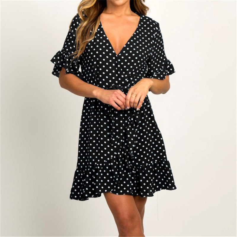 Fashion Short Sleeve V-neck Polka Dot A-line Dress