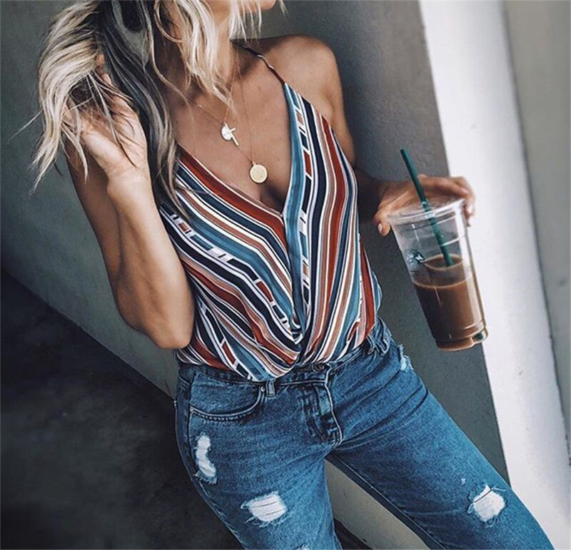 Sleeveless Vest Top Loose Striped V-Neck Camis