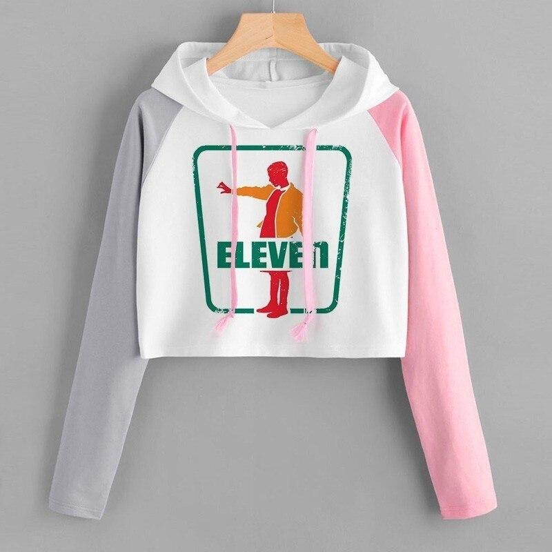 Stranger Things 3 Women Elf Hoodie Funny TV Series Fashion Hip Hop Cropped Pullover