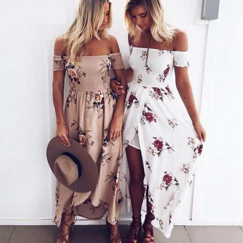 LAAMEI Women Slash Neck Floral Printed Boho Dress Fashion Beach Summer Dresses Ladies Strapless Long Maxi Dress Vestidos S-5XL