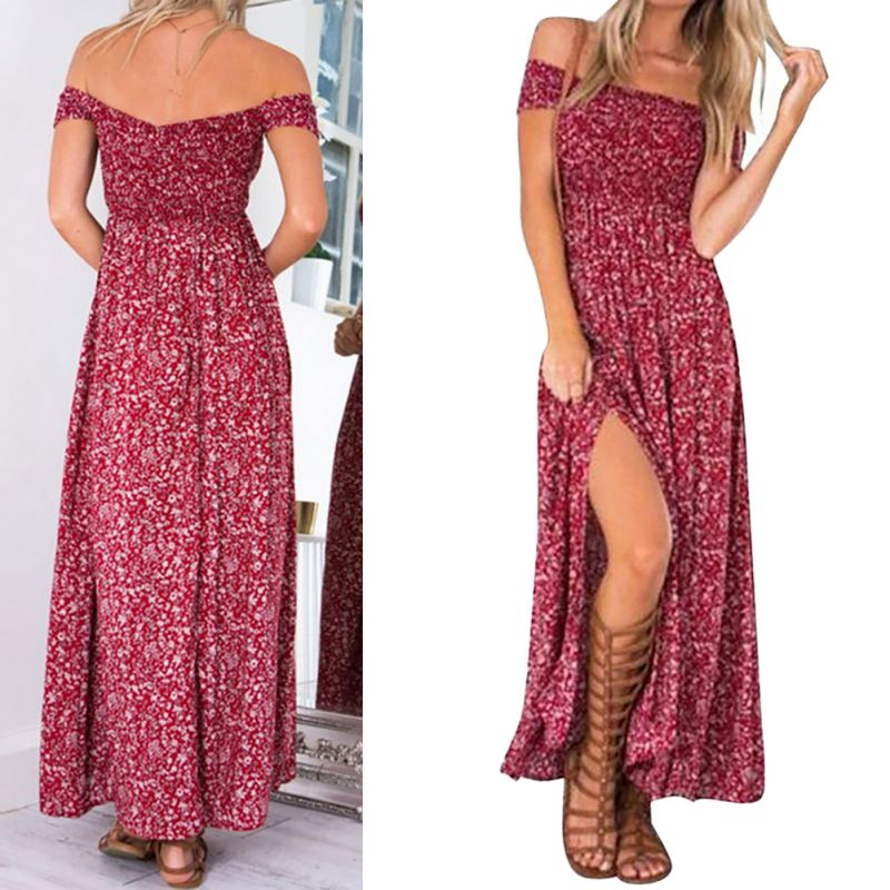 Bohemian Summer Dress 2020 Red Floral Casual Maxi Dress For Women Boho Dresses Off Shoulder Long Beach Vestidos Sexy Sundress