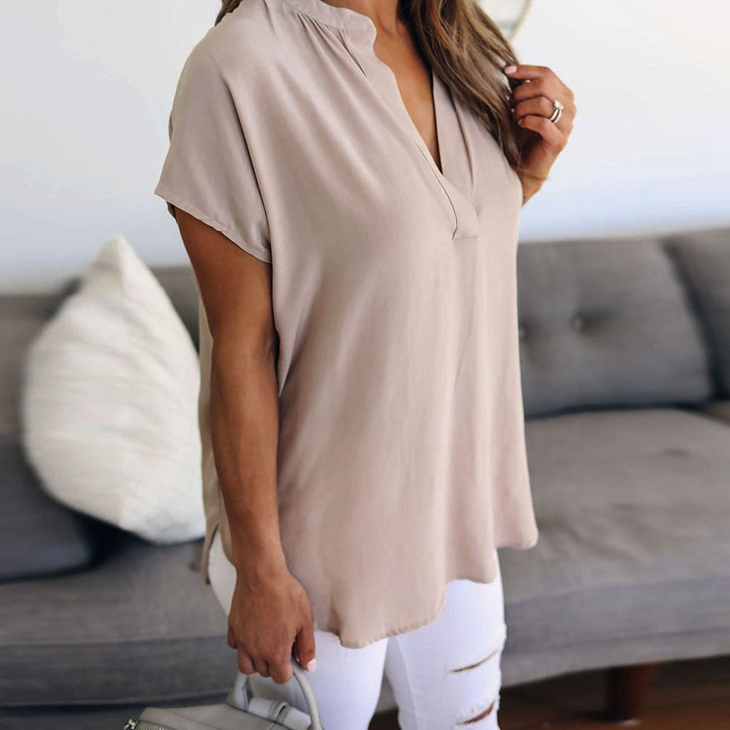 Zomer Solid Chiffon Plus Size S-5XL Vrouwen Dames Sexy V-hals Korte Mouw Casual Shirt Tops Blouse Groothandel N4