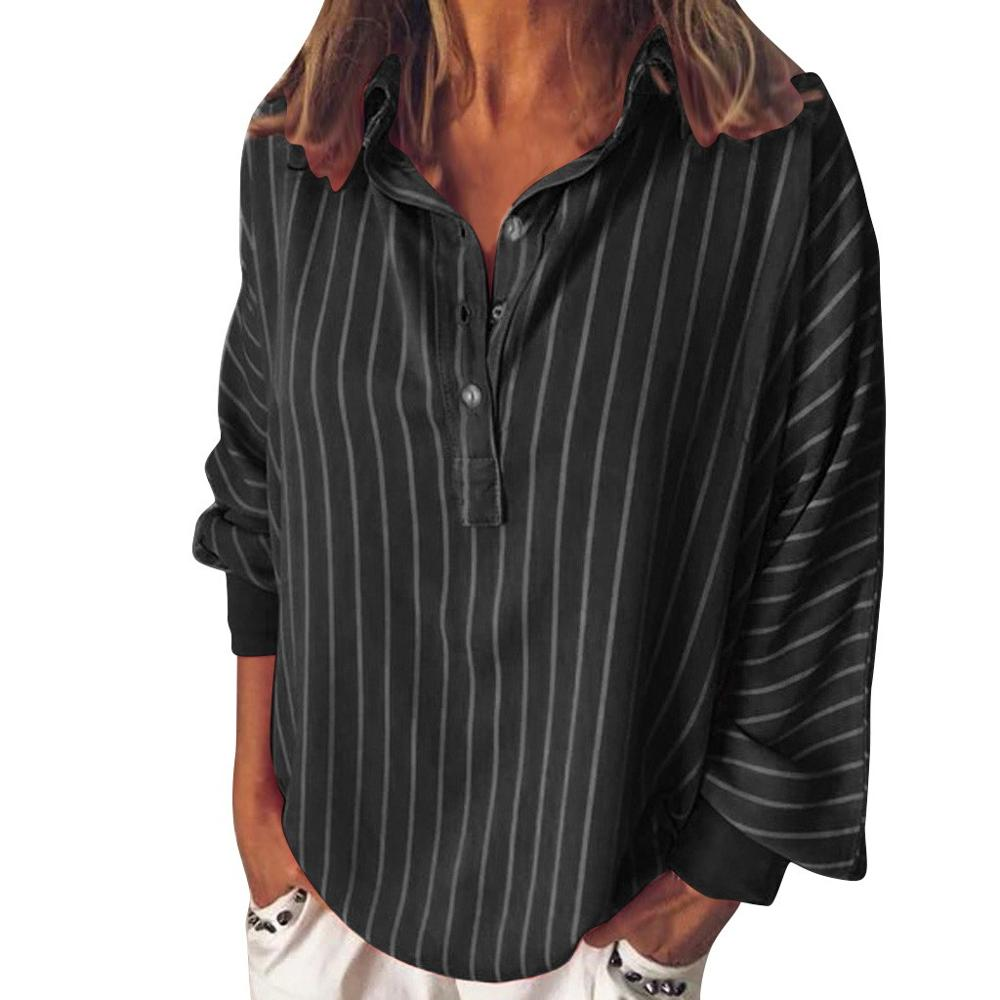 Casual Striped Loose Button Lapel Shirt