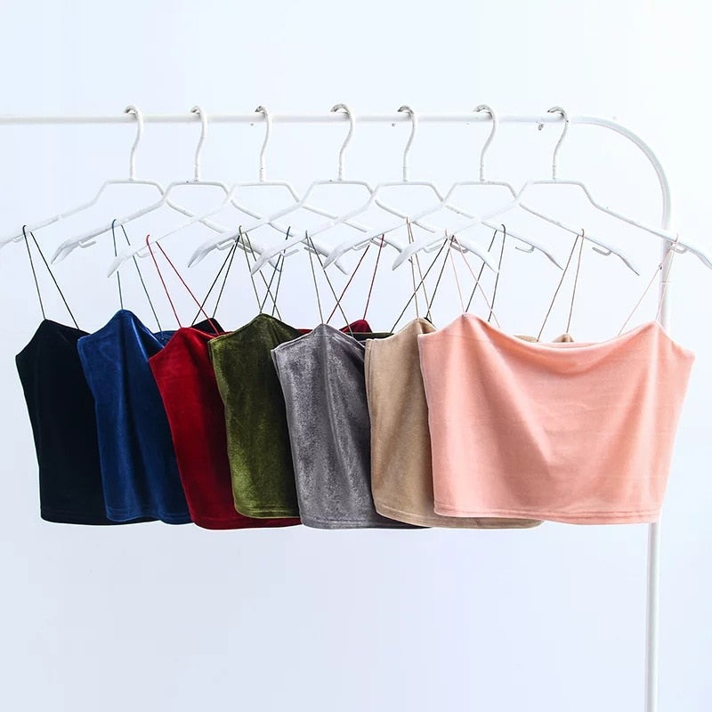 Fashion Sexy Spaghetti Straps Tank Top Velvet Short Crop Top 7 Colors Sexy Boob Tube Top Bustier Brief Vest T-shirts Tee
