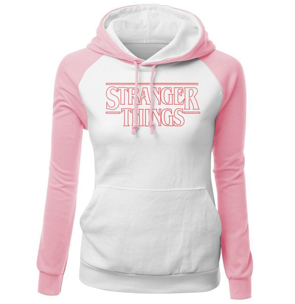 Stranger Things Design Print Hoodies Pink Harajuku Streetwear