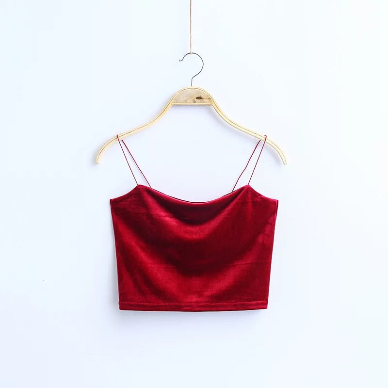 Fashion Spaghetti Straps Velvet Tank Top