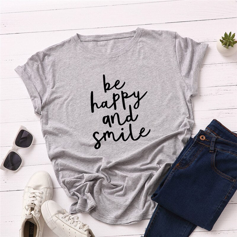 Fashion Letter Print T-Shirt O-neck Short Sleeve Top