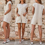 Women Shorts Button Playsuit With Pocket