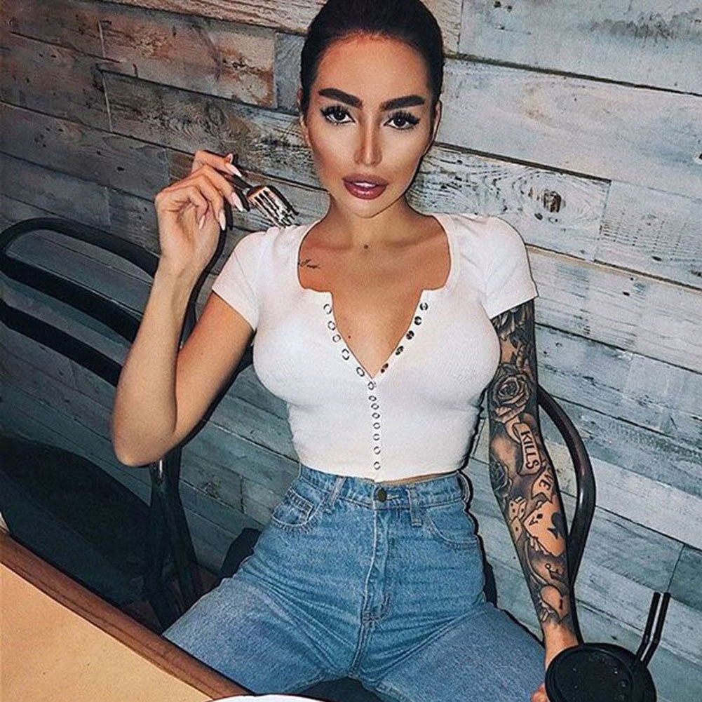 2018 Fashion Sexy Women Short Sleeve Crop Top Button Vest Halter Casual White Tank Tops Blouse Short Shirt