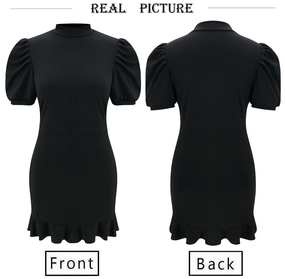 Black Retro Short Dress Summer Casual Puff Sleeve Mini Ruffle Hem A Line O Neck Dresses Women Turtleneck Bag Hip Vestidos Femme