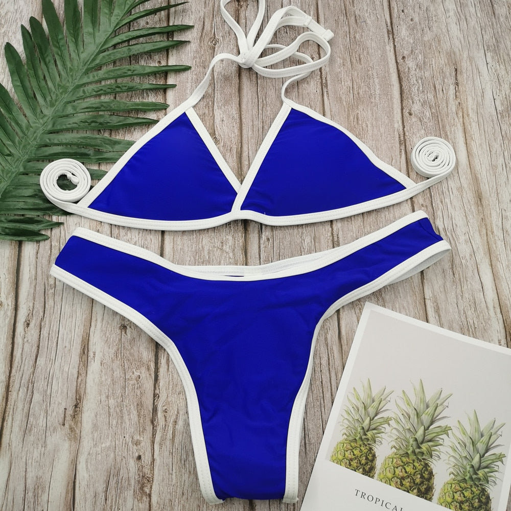 French Triangle Low Waist Lace-up Back Women Swimsuit