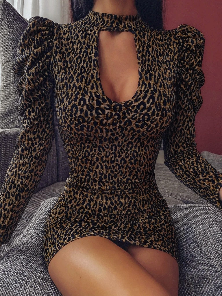 Hollow Out Puff Sleeve Leopard Mini Ladies Dress