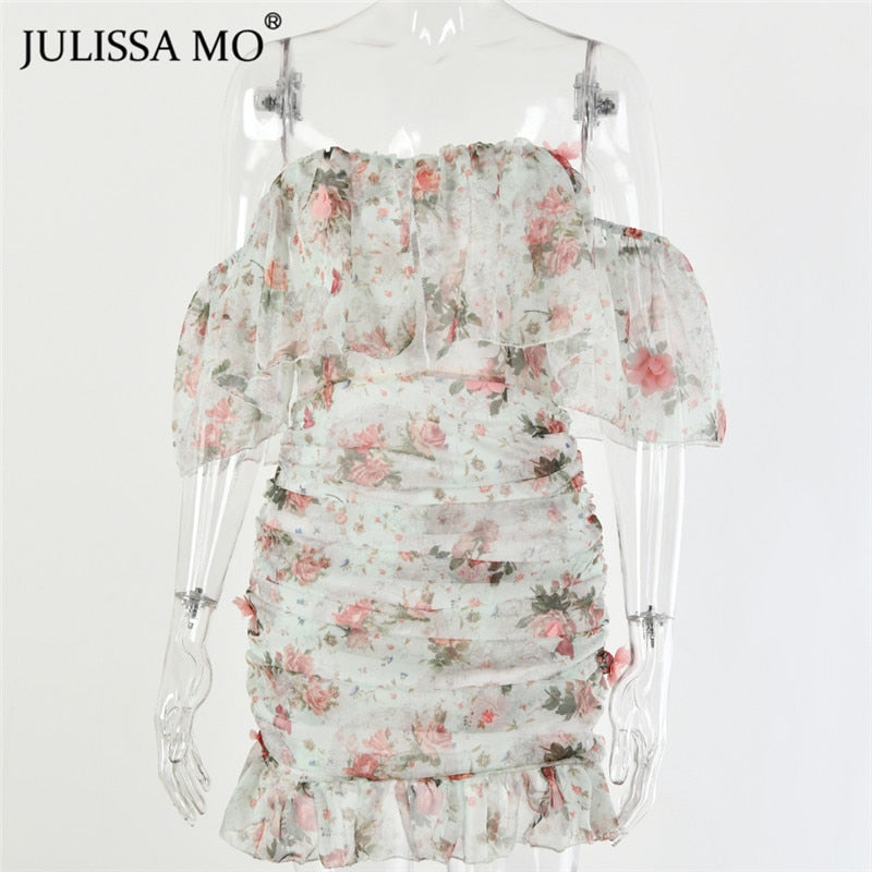 Fairy Style Off Shoulder Ruffles Sleeve Floral Print Bodycon Dress