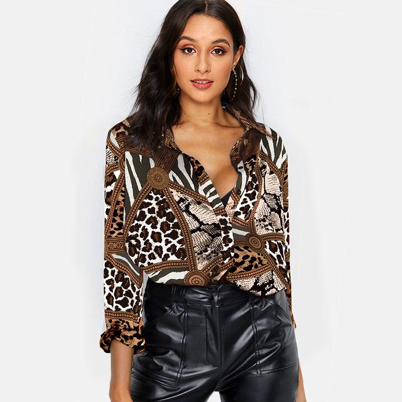 Women Blouses Sexy Leopard Blouse Shirt Long Sleeve Office Shirt 2020 Fashion Autumn Casual Vintage Tops Chemisier Femme