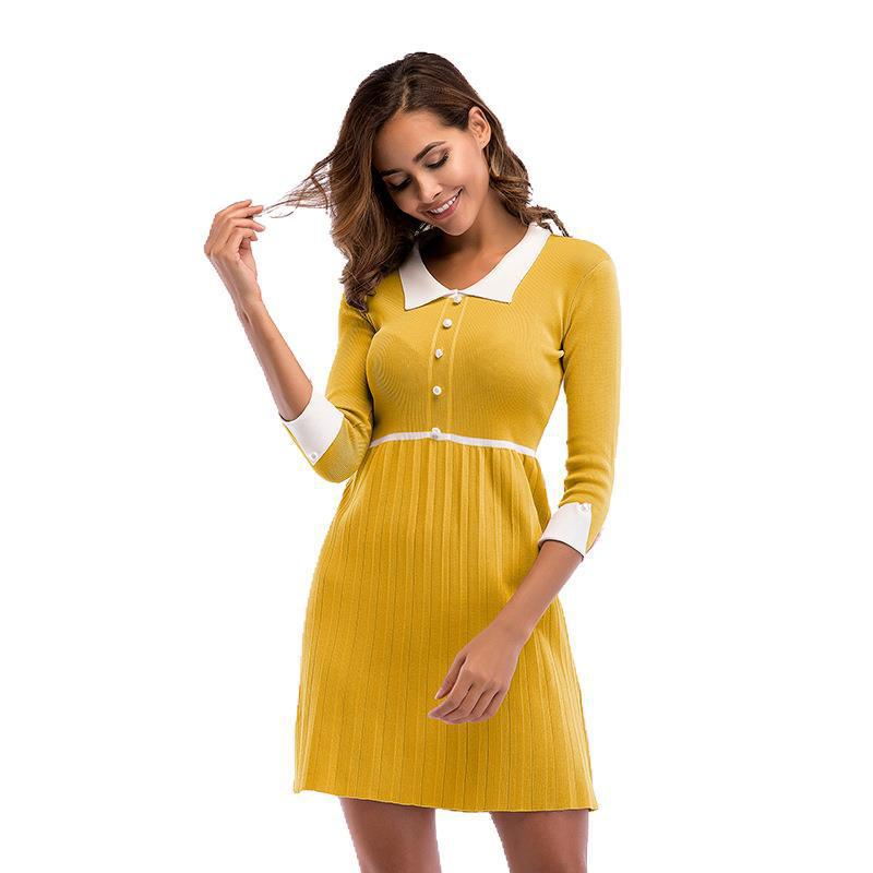 Yellow Peter Pan Collar Knitted Dress Pleated Vintage Mini Buttons Ladies Dresses High Waist Ruffled Black Vestidos Elegant Slim