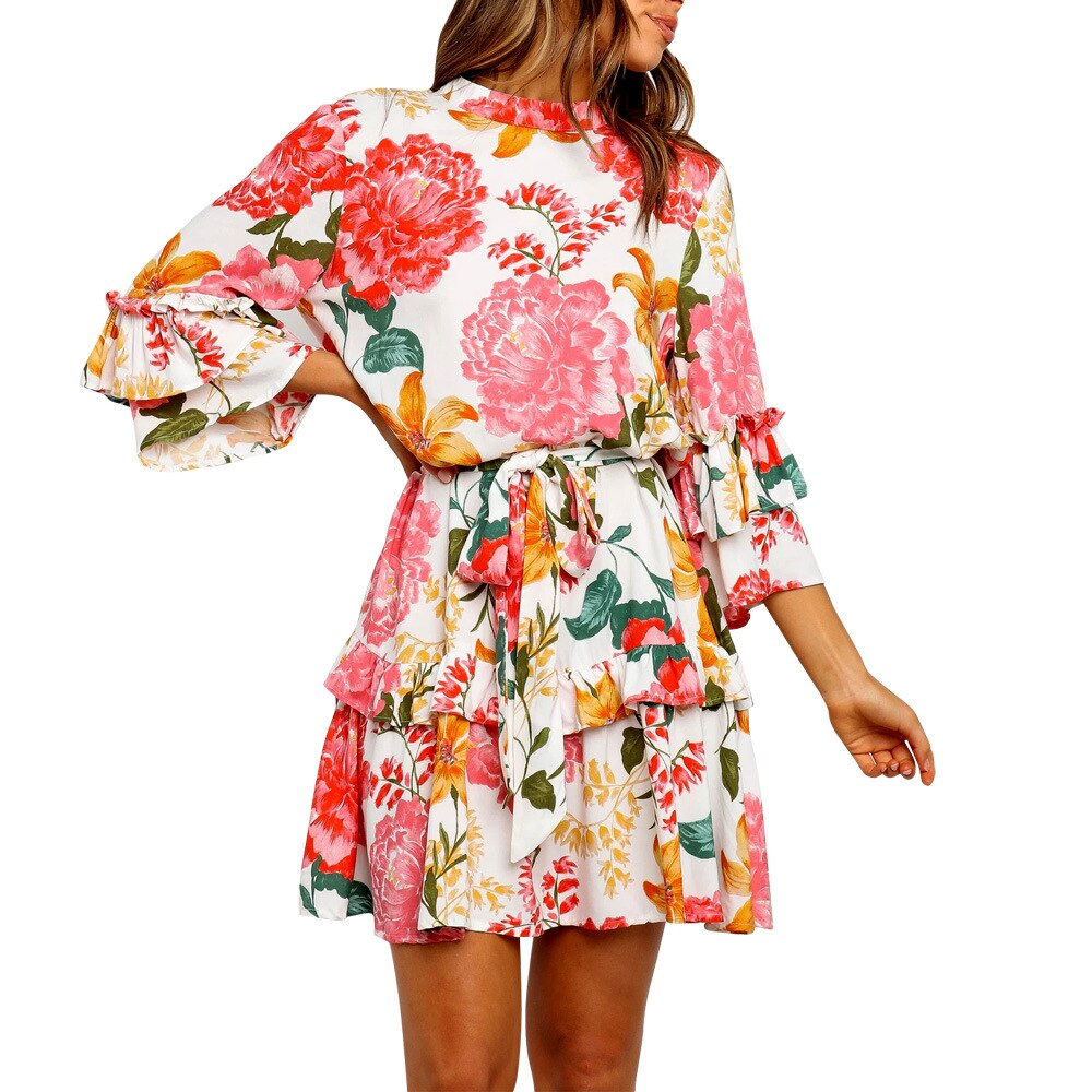 Peony Floral Loose Cascading Ruffles Dress