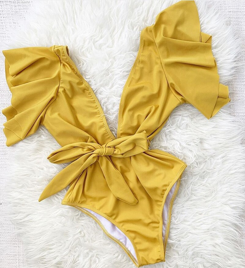 One-piece Swimsuit Sexy Ruffles Deep V-neck Bowknot Waisted Bodysuit
