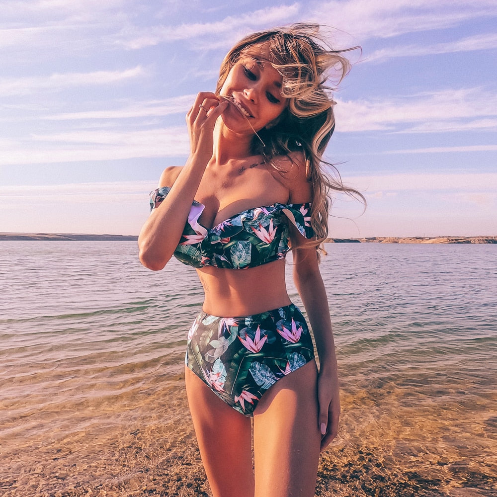 2020 New High Waist Bikini Swimwear Women Print Swimsuit Push Up Ruffle Bikinis Set Women Bandage Bathing Suit Summer Beachwear