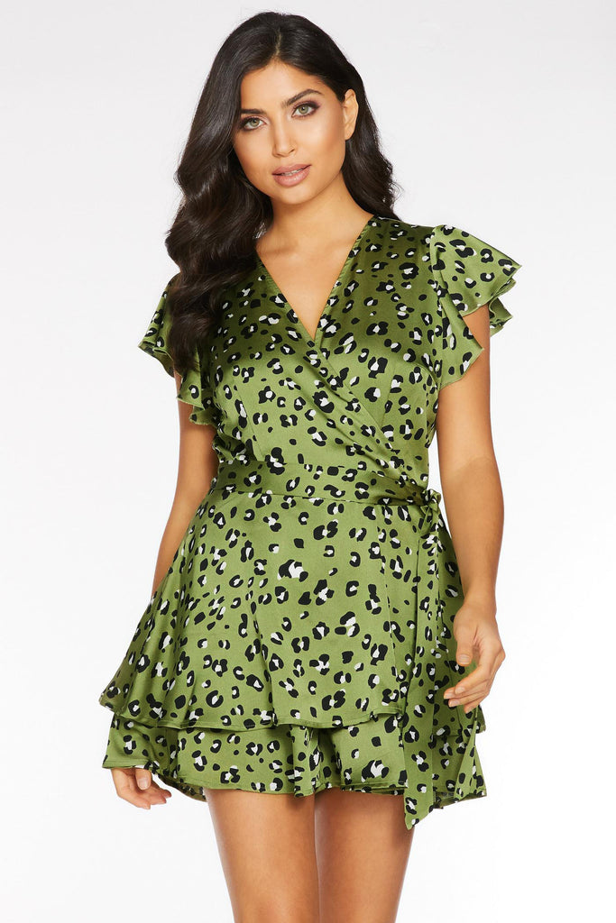 Leopard Green Ruffle Dress Tunic V Neck Butterfly Sleeve A Line Vintage Femme Dresses Summer Mini Sexy Lace up Vestidos Mujer