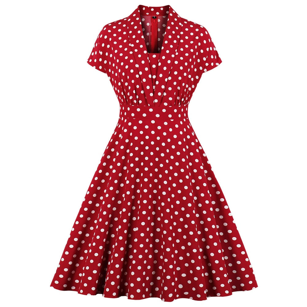 Polka Dot Pinup Swing Short Sleeve Retro Dress
