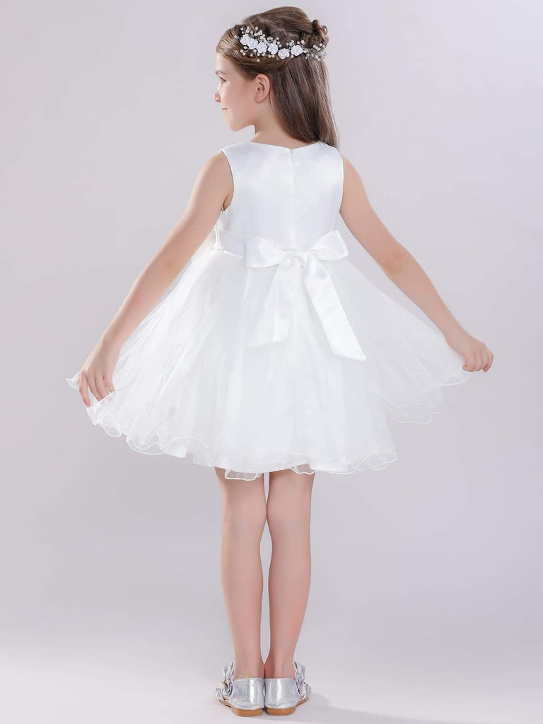 White Flower Girl Dress with Pearls Pageant Dress