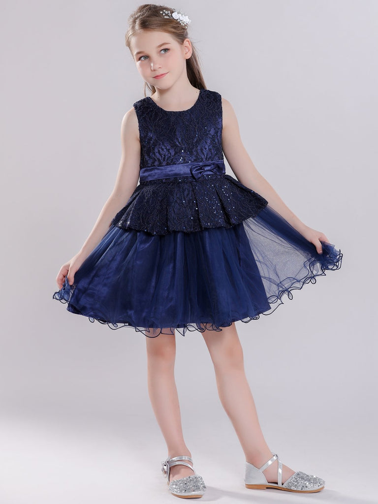 Navy Blue Glitter Lace Princess Dress for Wedding