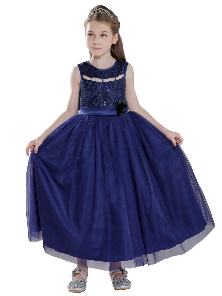 Navy Blue Fancy Kids Dress for Girls