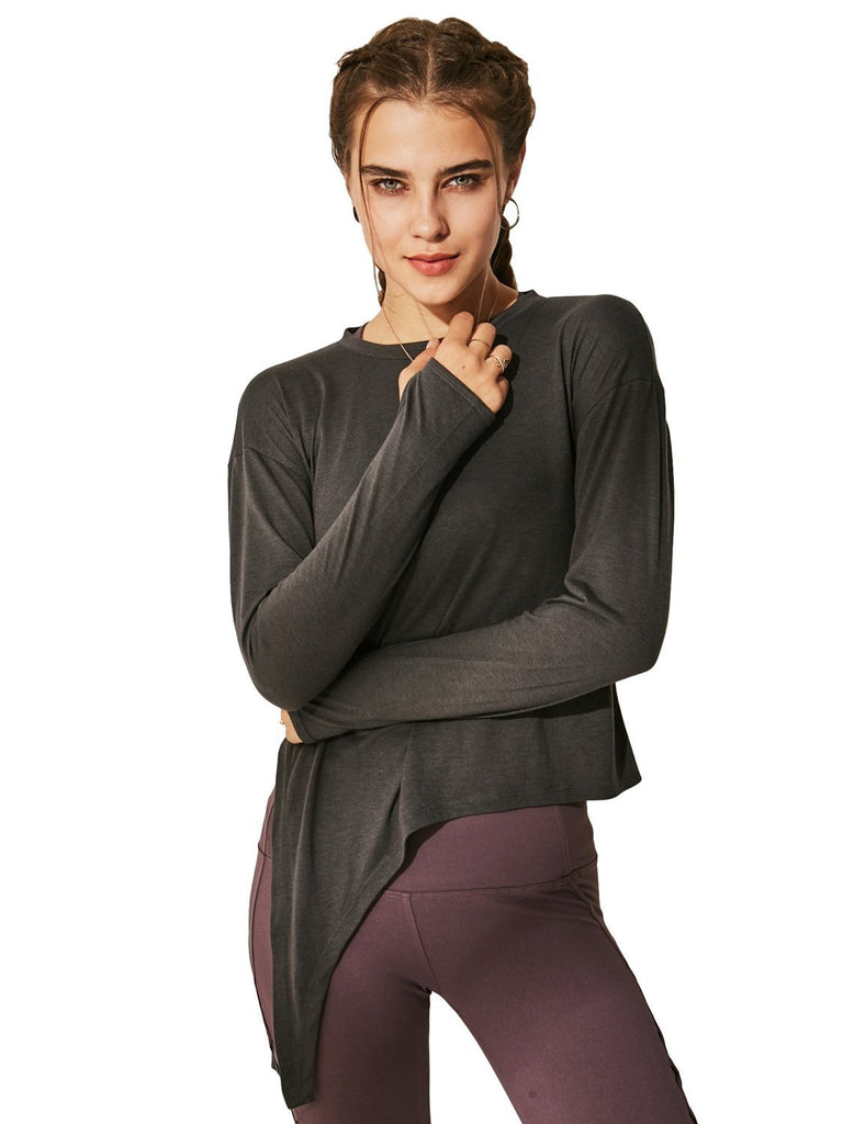 Women's Drop Shoulder Yoga Top Tie Waist